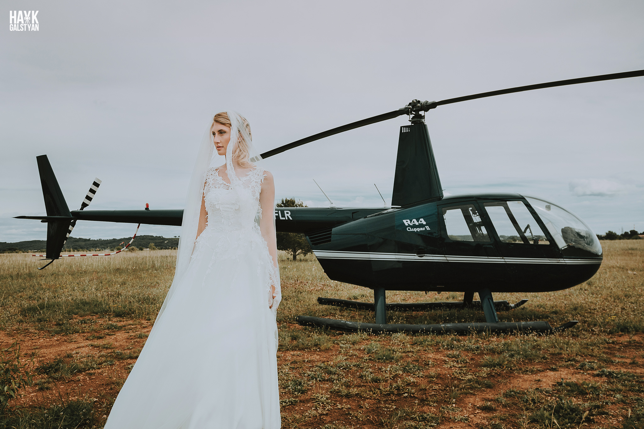 Bride with Helicopter France by Photographer Hayk Galstyan
