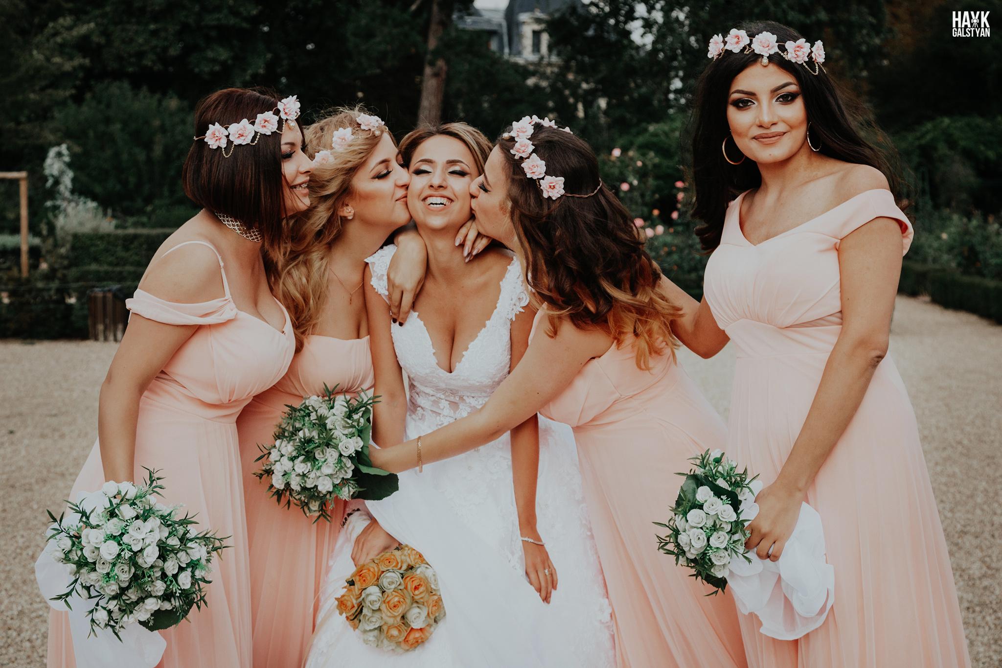 Bride with Bridesmaids in Paris